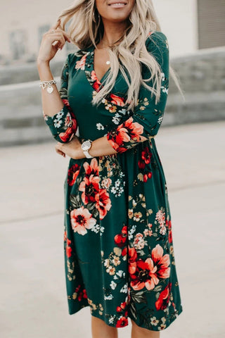 Floral 4/3 Sleeve Wrap Dress