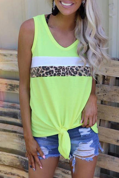 Neon Green Leopard Striped Patchwork Sleeveless