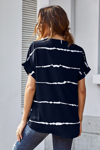 Blue Striped Folded Short Sleeve Shirt