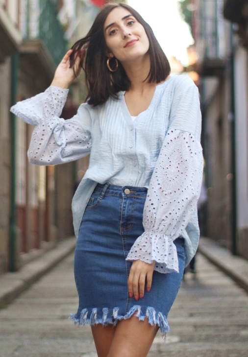 Sky Blue Rekindle Eyelet Button Down Top
