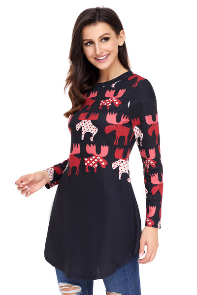 Red Cartoon Reindeer Print Black Christmas Blouse