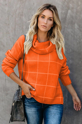 Orange Grid Pattern Turtleneck Sweater