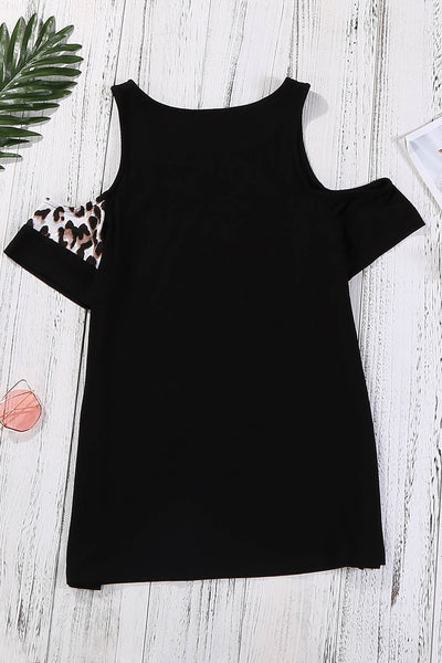 Leopard Patchwork Cold Shoulder T-shirt