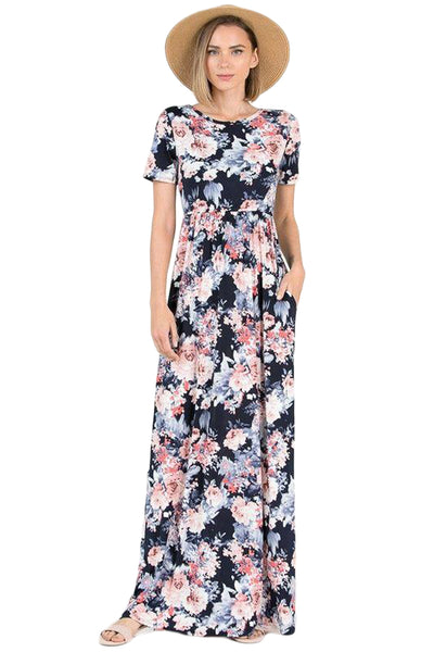 Coral Floral Pattern Short Sleeve Summer Maxi Dress in Black