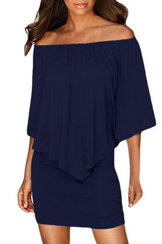 Multiple Dressing Layered Dark Blue Mini Poncho Dress
