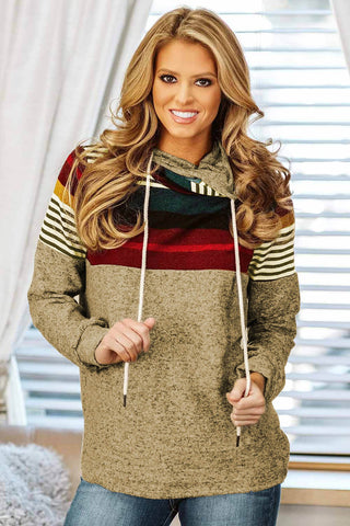 Khaki Long Sleeve Striped Color Block Drawstring Hoodie