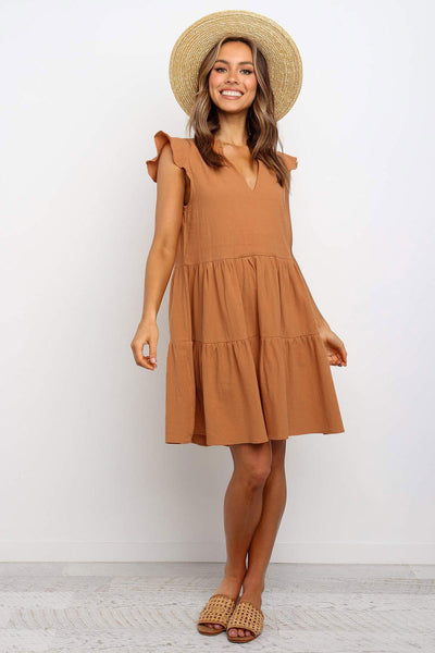 Brown Short Ruffled Sleeve V Neck Tiered Gathered Dress