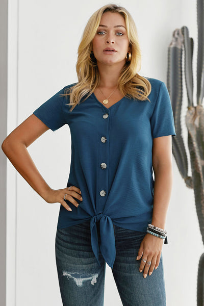 Blue Button up Front Tie Detail Woven Top