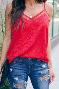 Red Embossed Mesh Cami Tank