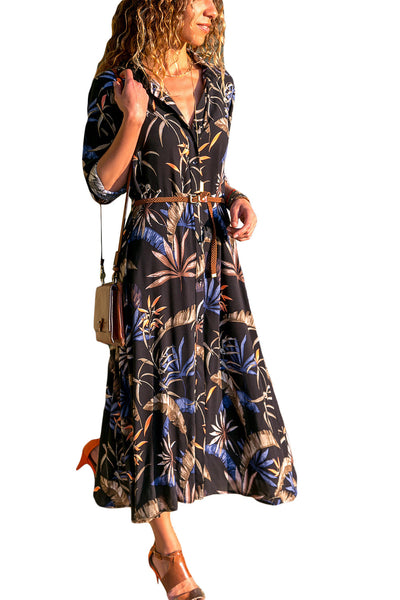 Dark Bohemian Floral Print Button Down Belted Shirt Dress