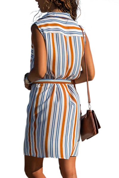 Orange Sleeveless Tank Shirt Dress