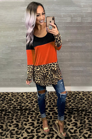 Colorblock Leopard Triple Patchwork Long Sleeve Top