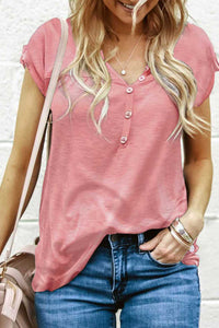 Pink Buttoned Detail Cotton Blend Short Sleeve T-shirt
