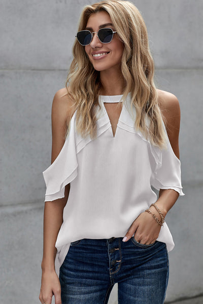 White Ruffled Cold Shoulder Blouse