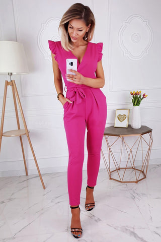 Ruffle Trim Wrap V Neck Skinny Jumpsuit