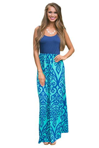 Light Blue Damask Print Sleeveless Long Boho Dress