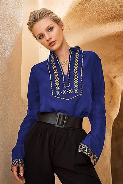 Blue Boho Embroidered V Neck long Sleeve Casual Top