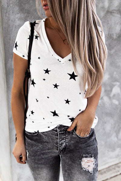 V Neck Stars Print White T-shirt