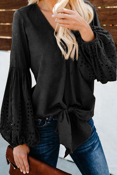 Black Rhapsody Cotton Balloon Sleeve Tie Top