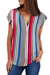 Multicolor V Neck Stripes Roll up Short Sleeve Zip Up Blouse