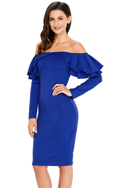 Royal Blue Ruffle Off The Shoulder Long Sleeve Bodycon Dress