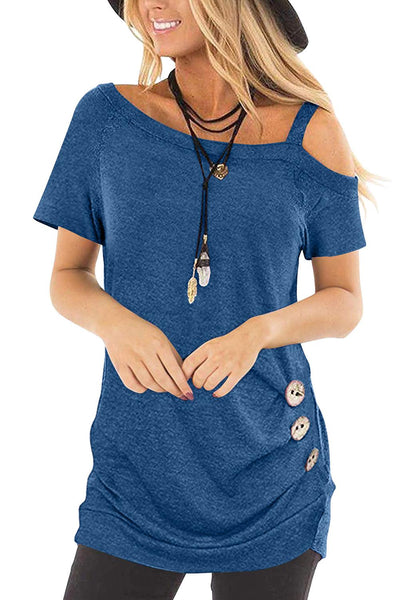 Blue Sling Short Sleeve Casual Buttoned Top