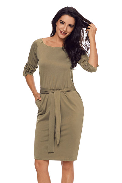 Olive Roll-tab Long Sleeve Tie Waist Midi Dress
