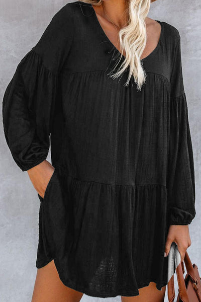 Black Wanderlust Pocketed Tiered Tunic