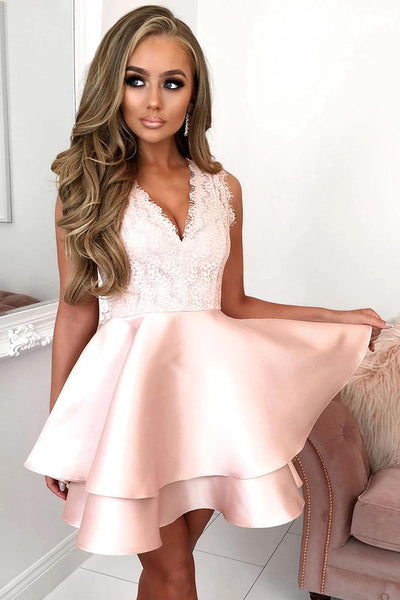 Pink Scalloped V Neck Double-layer Skater Mini Dress