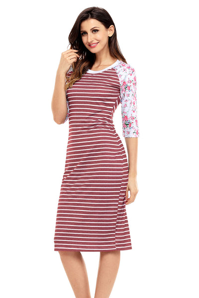 Wine White Stripe Floral Sleeve Midi Dress