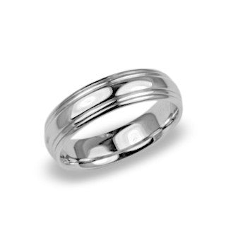 Men's Wedding Band 14k White Gold - High Polish Finish Contemporary