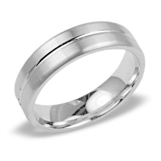 Mens Wedding Band In Platinum - Split Satin Edge