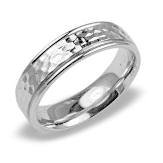 Mens Wedding Band In Platinum - Hammered Finish