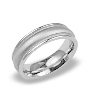 Mens Wedding Band In Platinum - Raised Center