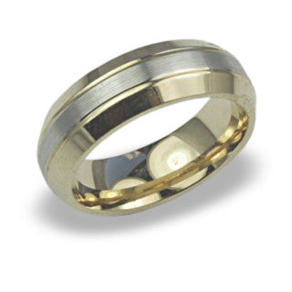Two Tone Yellow Gold Mens Wedding Band