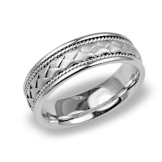 Mens Wedding Band In Platinum - Milgrain Patterend