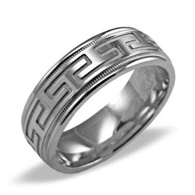 Mens Wedding Band In Platinum - Greek Key Polished