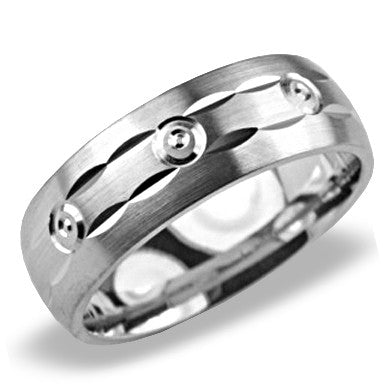 Mens Wedding Band In Platinum - 3 Circle Channel