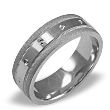 Mens Wedding Band In Platinum - Large Center Circle Pattern Polish