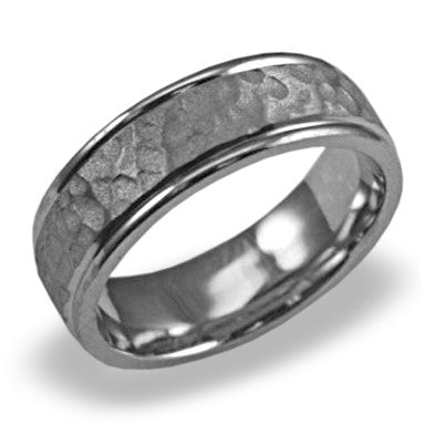 Mens Wedding Band In Platinum - Hammered Polished Edge