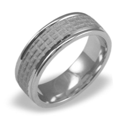 Mens Wedding Band In Platinum - Satin Grid