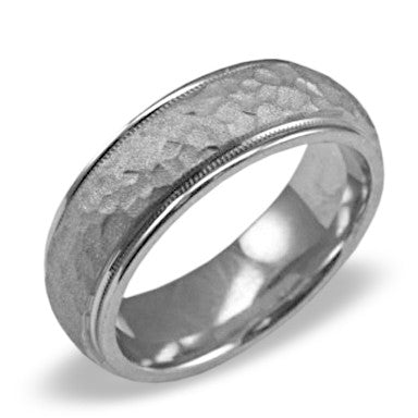 Mens Wedding Band In Platinum - Satin Hammered High Polish Edge