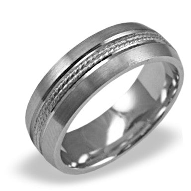 Mens Wedding Band In Platinum - Dual Milgrain Beveled