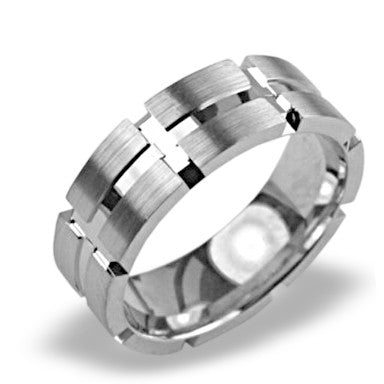 Mens Wedding Band In Platinum - Cross Channel