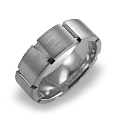 Mens Wedding Band In Platinum - Brushed Bar Channel