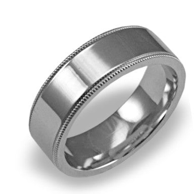 Mens Wedding Band In Platinum - Dual Milgrain