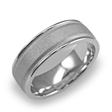 Comfort Fit Men's Wedding Band 14k White Gold - Brushed Center High Polish Edge