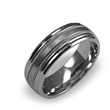 Mens Wedding Band In Platinum - Dual Milgrain Textured Center