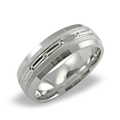 Mens Wedding Band In Platinum - Brick Center Pattern