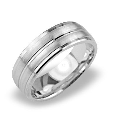 Mens Wedding Band In Platinum - Dual Satin High Polish